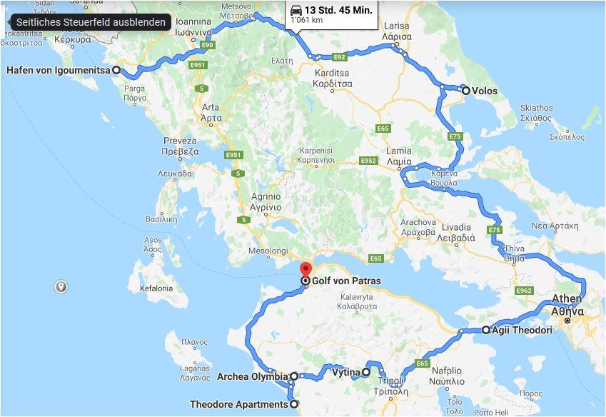 karte rundreise griechenland